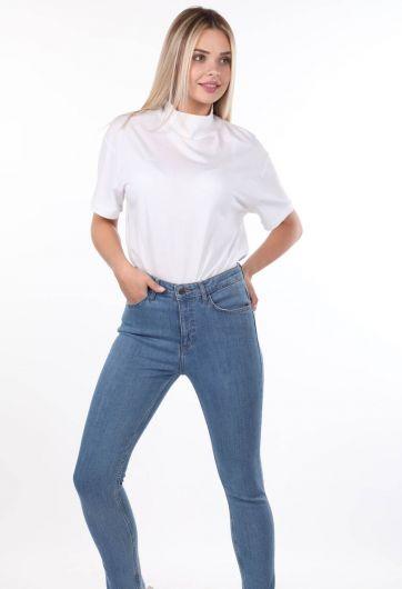 Blue White Women's Skınny Jeans - Thumbnail