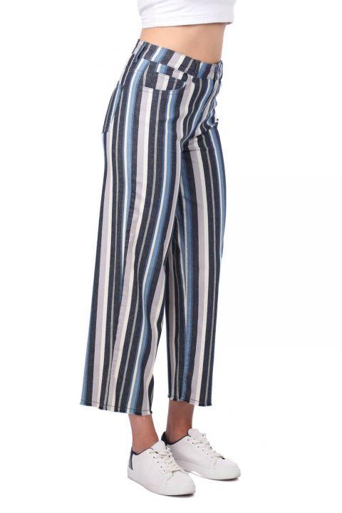 Blue White Women's Striped Trousers