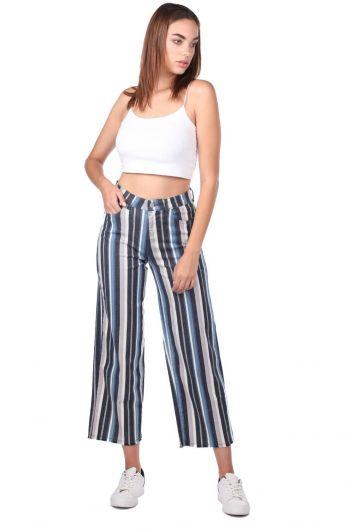 Blue White Women's Striped Trousers - Thumbnail