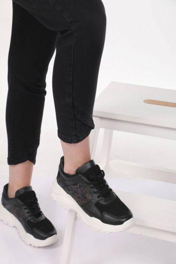 بنطلون جينز أزرق أبيض نسائي مفصل الساق - Thumbnail