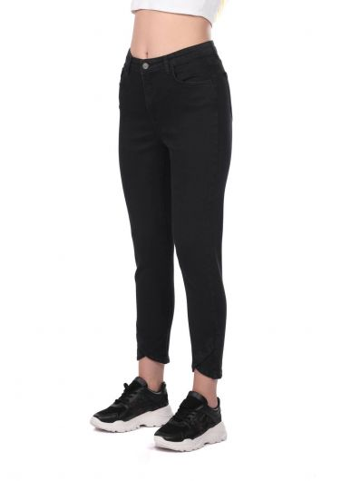 BLUE WHITE - Blue White Women's Black Jean Trousers With Leg Detail (1)