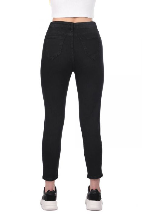 Blue White Women's Black Jean Trousers With Leg Detail