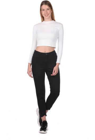 Blue White Women's Black Jean Trousers With Leg Detail - Thumbnail