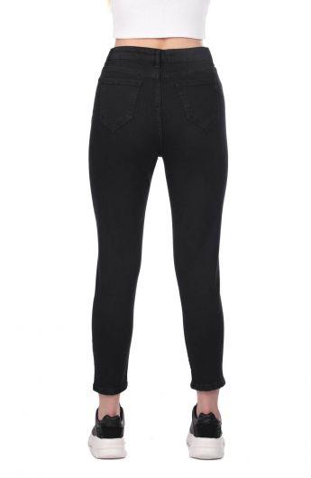 Синие белые женские черные джинсовые брюки с детализированной отделкой - Thumbnail