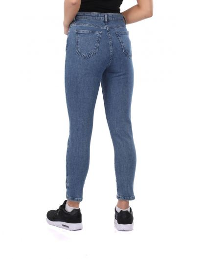 Blue White Women's Leg Detailed Jean Trousers - Thumbnail