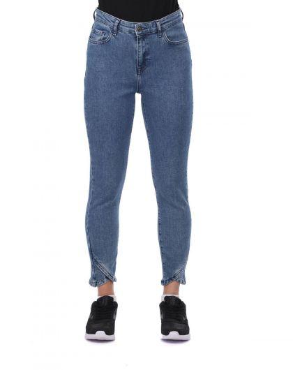 Сине-белые женские джинсовые брюки с детализированными штанинами - Thumbnail