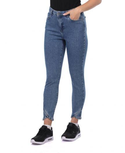 BLUE WHITE - Сине-белые женские джинсовые брюки с детализированными штанинами (1)