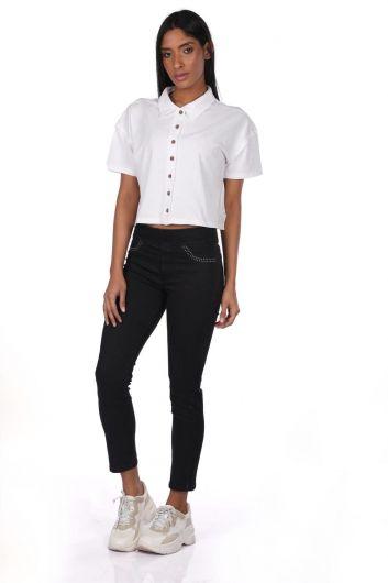 بنطلون جينز أزرق أبيض نسائي أسود - Thumbnail