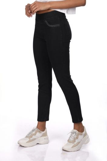 BLUE WHITE - Blue White Women Black Leggings Jean Trousers (1)