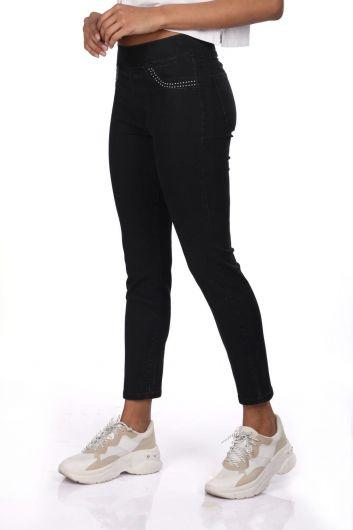 Blue White Women Black Leggings Jean Trousers - Thumbnail