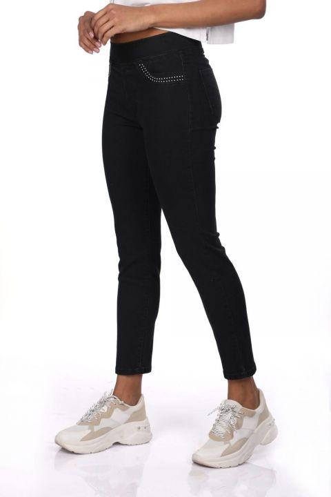 Blue White Women Black Leggings Jean Trousers