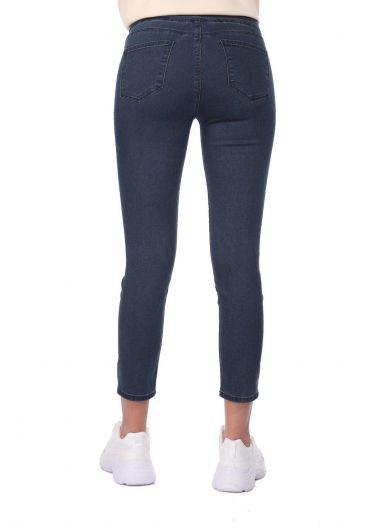 بنطلون جينز أزرق أبيض للنساء - Thumbnail
