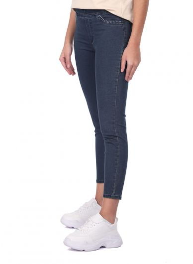 BLUE WHITE - Blue White Women Leggings Jean Trousers (1)