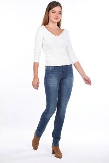 Blue White Women's Low Rise Jeans - Thumbnail
