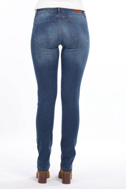 Blue White Women's Low Rise Jeans