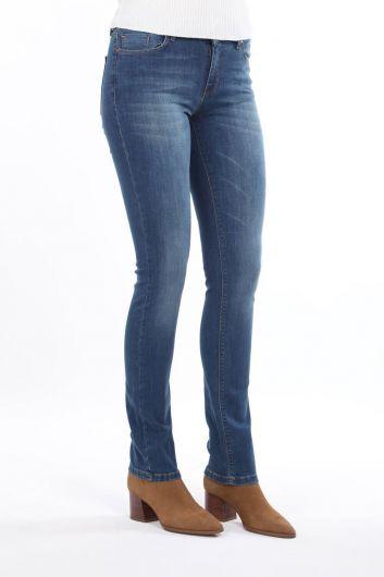 BLUE WHITE - Сине-белые женские джинсовыебрюкис низкойпосадкой (1)