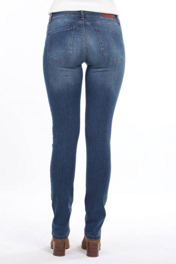 Сине-белые женские джинсовыебрюкис низкойпосадкой - Thumbnail