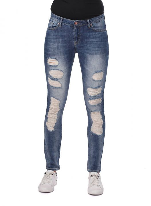 Blue White Women's Torn Skinny Jeans