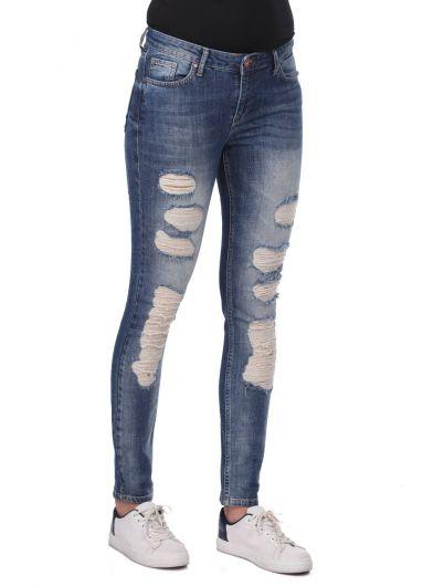 BLUE WHITE - Сине-белые женские рваные джинсы скинни (1)