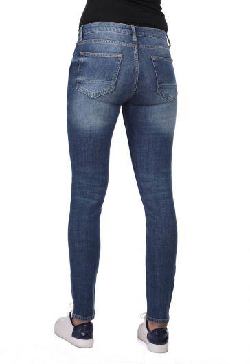 Сине-белые женские рваные джинсы скинни - Thumbnail