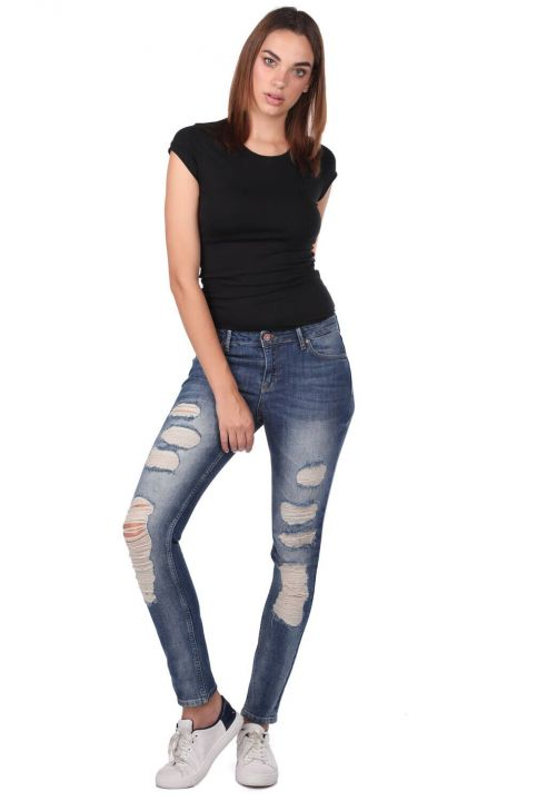 Сине-белые женские рваные джинсы скинни
