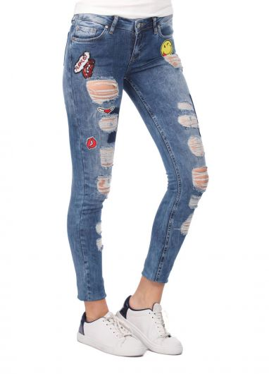 Blue White Women's Patterned Ripped Jeans - Thumbnail