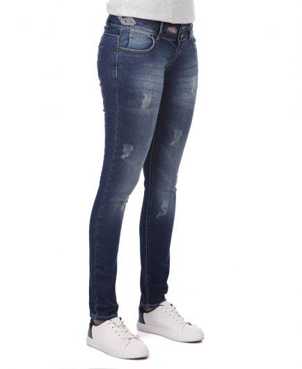 BLUE WHITE - Сине-белые женские джинсовые брюки с рисунком (1)