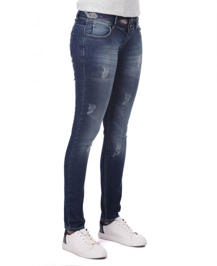 BLUE WHITE - Blue White Women's Patterned Jean Trousers (1)