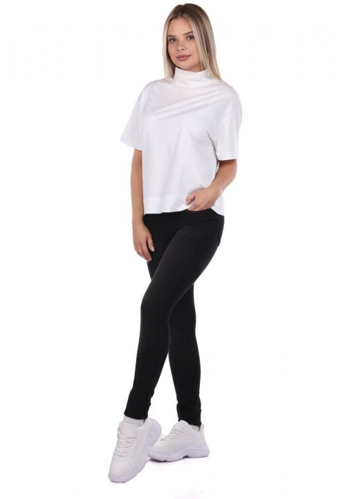 Blue White Women's Red Stitch Detail Jean Trousers