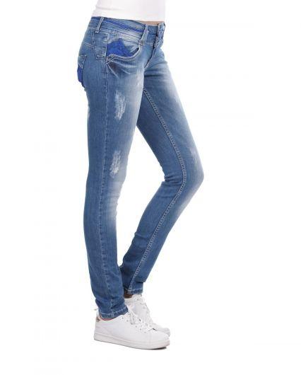 BLUE WHITE - بنطلون جينز نسائي أزرق أبيض أزرق مزين برباط (1)