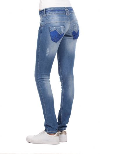 Blue White Blue Laced Women Jean Trousers - Thumbnail