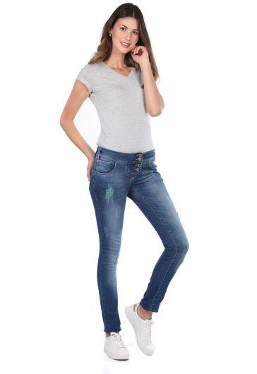 بنطلون جينز فضفاض مكون من 5 أزرار من بلو وايت للنساء - Thumbnail