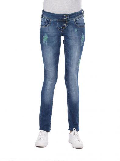 Белые женские мешковатые джинсовые брюки с 5 пуговицами - Thumbnail
