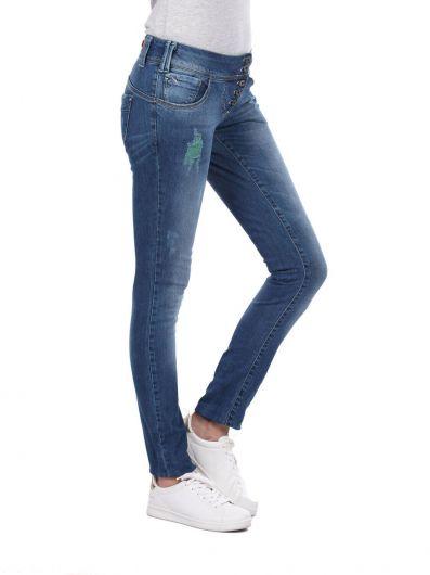 BLUE WHITE - Белые женские мешковатые джинсовые брюки с 5 пуговицами (1)
