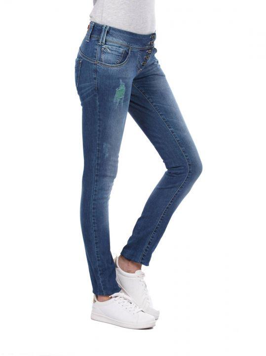 Белые женские мешковатые джинсовые брюки с 5 пуговицами