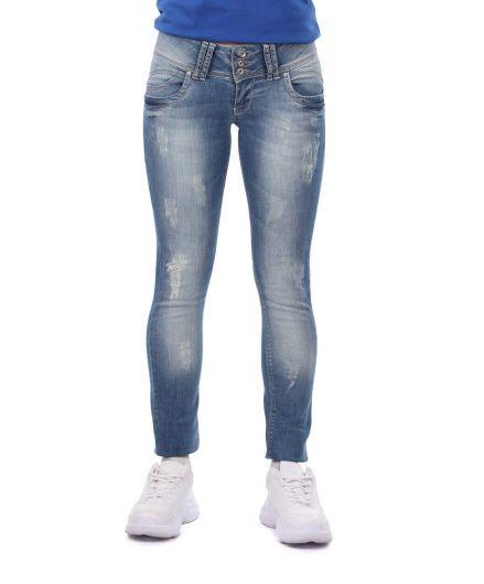 بنطلون جينز فضفاض بثلاثة أزرار أزرق أبيض نسائي - Thumbnail