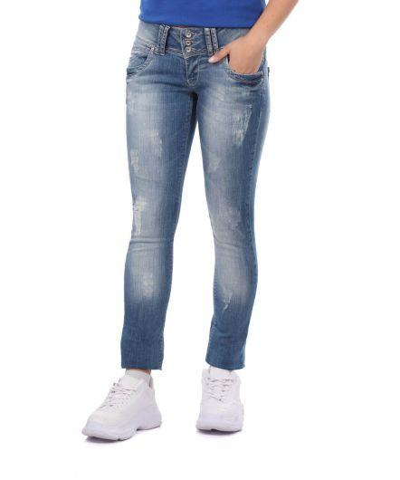 BLUE WHITE - بنطلون جينز فضفاض بثلاثة أزرار أزرق أبيض نسائي (1)