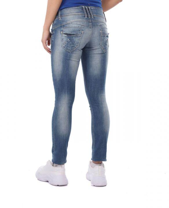 بنطلون جينز فضفاض بثلاثة أزرار أزرق أبيض نسائي