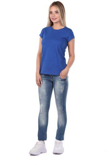 Голубые белые женские мешковатые джинсовые брюки с 3 пуговицами - Thumbnail