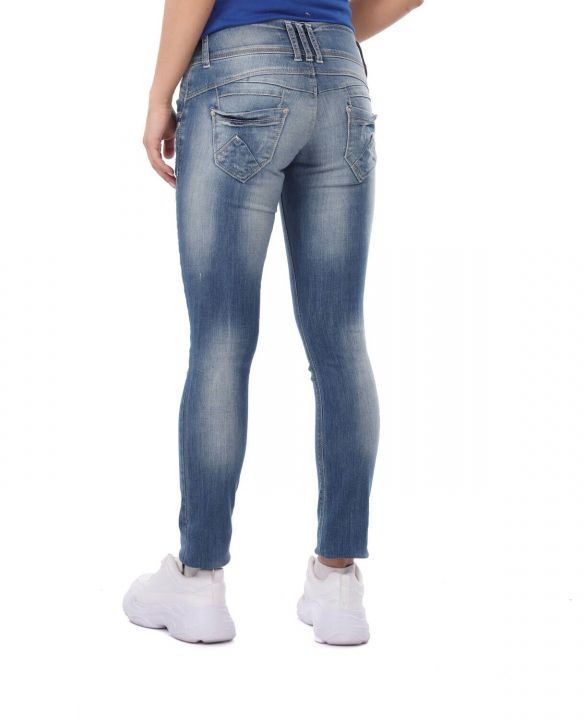 Blue White Women's 3-Button Baggy Jean Trousers