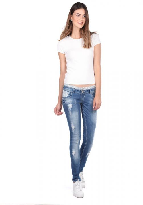 Blue White Women's Lace Detailed Jean Trousers