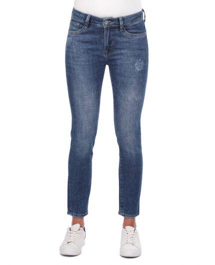 Blue White Skinny Jeans - Thumbnail