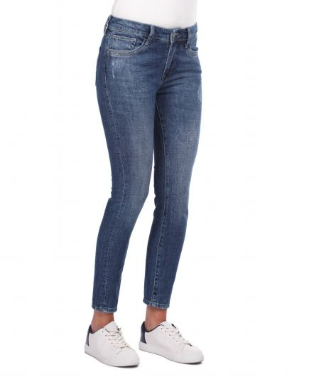 BLUE WHITE - Синие белые джинсы скинни (1)