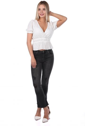 Blue White Women Black Jeans - Thumbnail