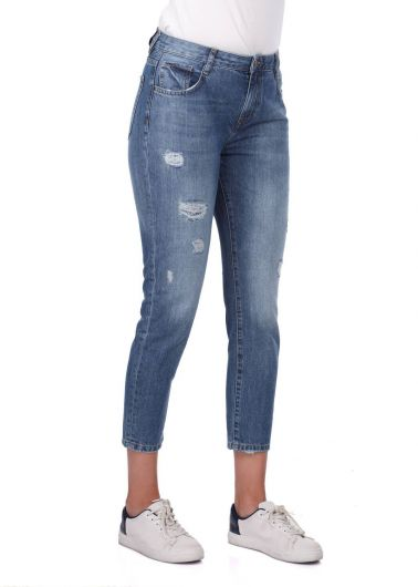 BLUE WHITE - Синие белые женские джинсы Mom Fit (1)