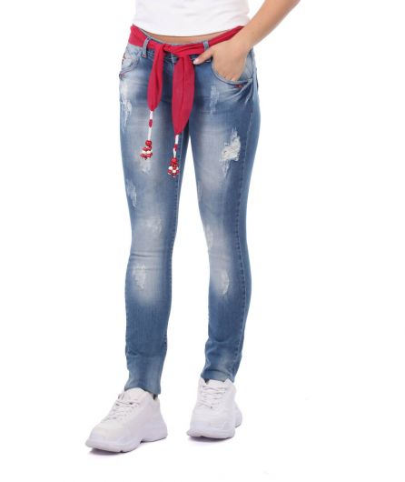 BLUE WHITE - Blue White Women's Pink Belt Jean Trousers (1)