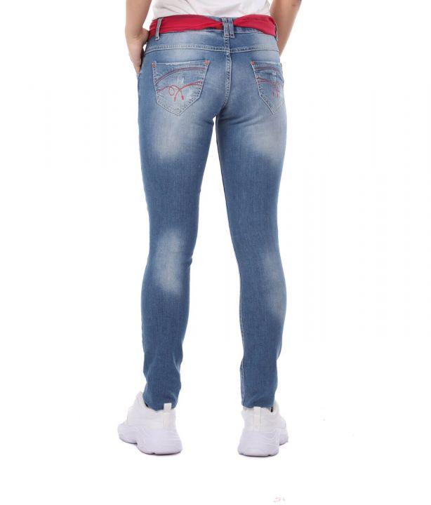 Blue White Women's Pink Belt Jean Trousers