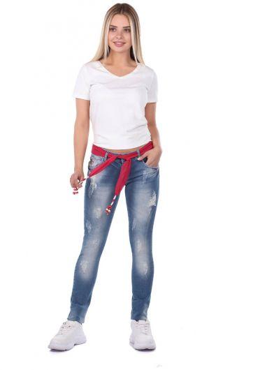 Голубые белые женские розовые джинсовыебрюки с поясом - Thumbnail