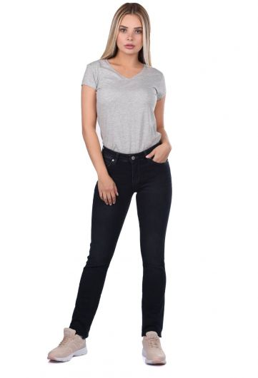 بنطلون جينز أسود اللون أزرق أبيض - Thumbnail