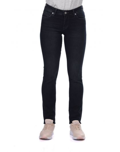 Blue White Women Regular Fit Black Jeans - Thumbnail